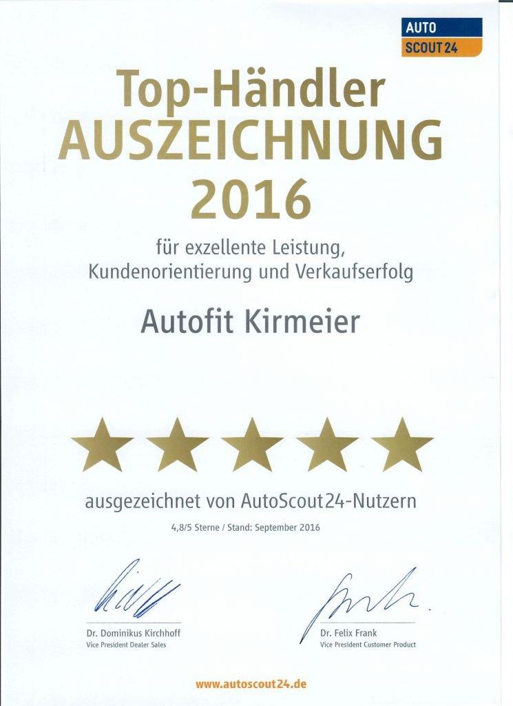 Die Autoscout24-Nutzer wählen uns zum Top-Händler 2016.